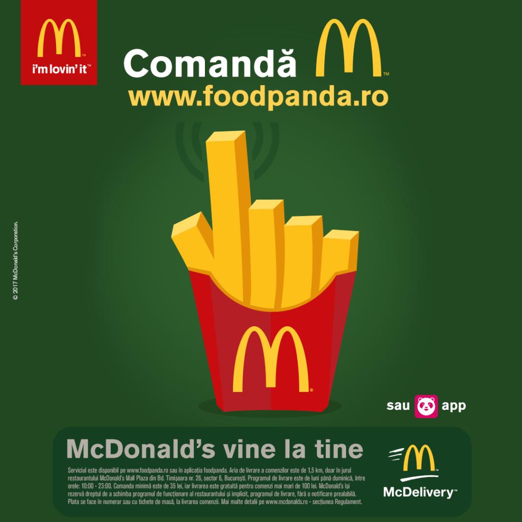 McDelivery livrari McDonald's Bucuresti Plaza